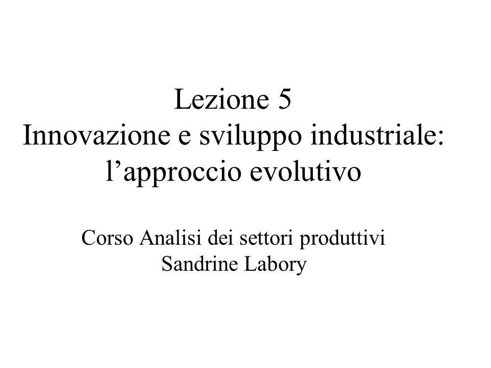 Lezione 5 Innovazione e sviluppo industriale: lapproccio evolutivo Corso Analisi dei settori produttivi Sandrine Labory