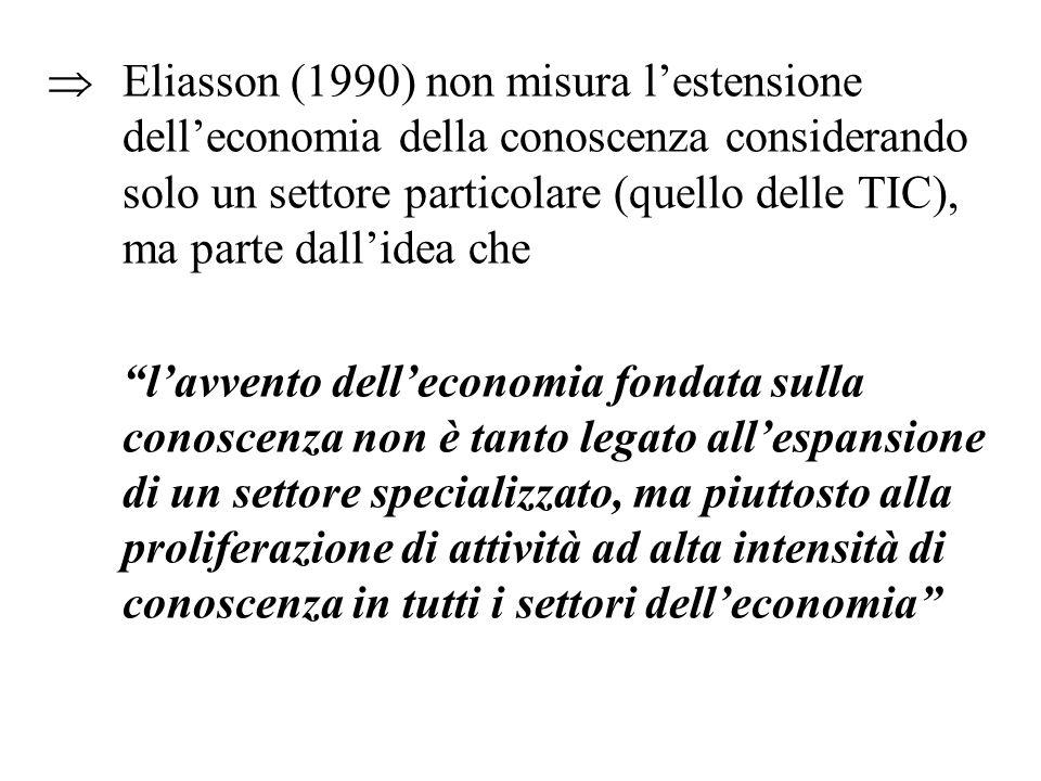 Eliasson (1990) non misura lestensione delleconomia della conoscenza considerando solo un settore particolare (quello delle TIC), ma parte dallidea che lavvento delleconomia fondata sulla conoscenza non è tanto legato allespansione di un settore specializzato, ma piuttosto alla proliferazione di attività ad alta intensità di conoscenza in tutti i settori delleconomia
