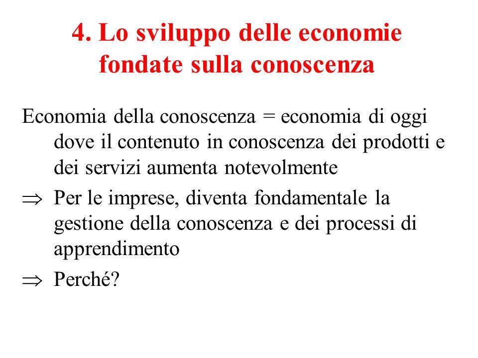 4. Lo sviluppo delle economie fondate sulla conoscenza Economia della conoscenza = economia di oggi dove il contenuto in conoscenza dei prodotti e dei