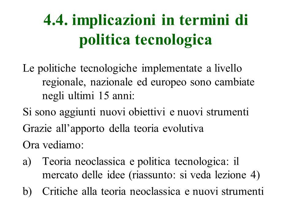 4.4. implicazioni in termini di politica tecnologica Le politiche tecnologiche implementate a livello regionale, nazionale ed europeo sono cambiate ne