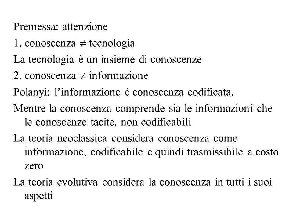 Prima ipo: conosc = info - E un ipotesi restrittiva perché buona parte della conoscenza è tacita (non codificabile e difficile da comunicare; esempio: sapere andare in bicicletta) Se MC di trasmissione della conoscenza 0, allora ci possono essere rendimenti crescenti della conoscenza: Machlup (1982), Scotchmer (1991) sostengono che più un agente inventa, maggiore la probabilità di inventare di nuovo Infatti i rendimenti sono sia crescenti che decrescenti: duplicare il numero dei ricercatori non implica necessariamente una duplicazione dellinnovazione