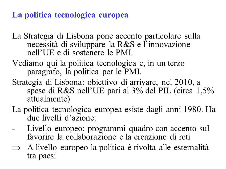 La politica tecnologica europea La Strategia di Lisbona pone accento particolare sulla necessità di sviluppare la R&S e linnovazione nellUE e di sostenere le PMI.