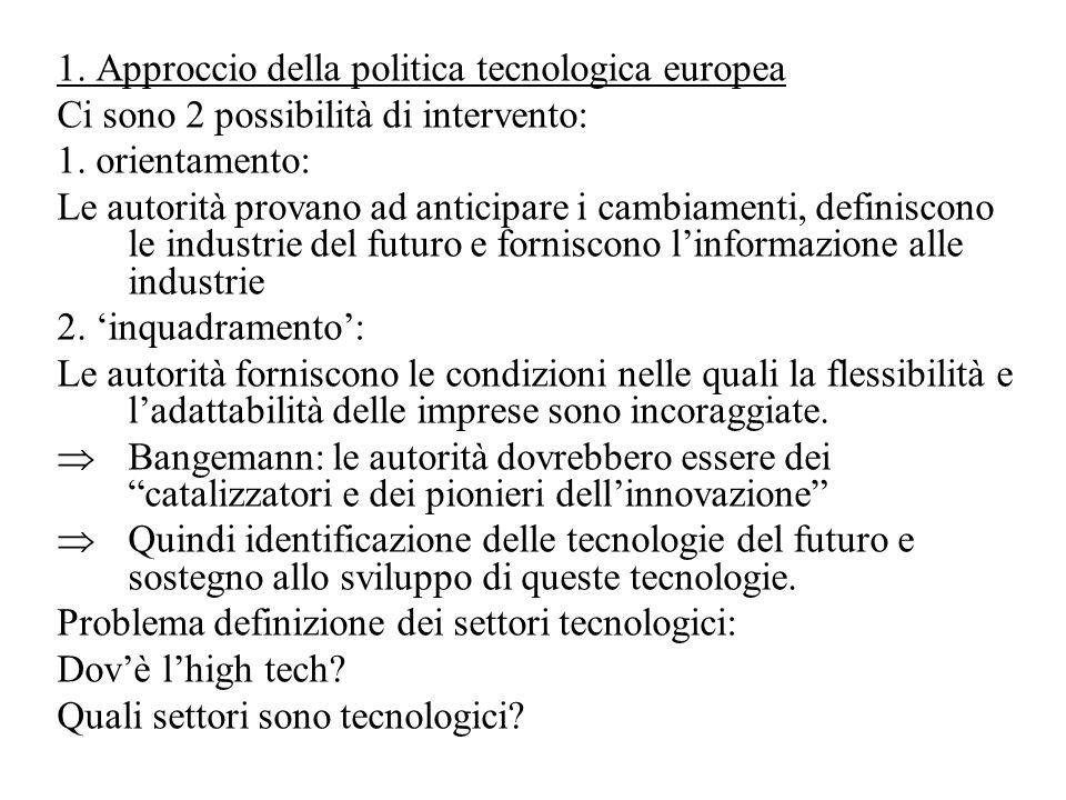 1. Approccio della politica tecnologica europea Ci sono 2 possibilità di intervento: 1.