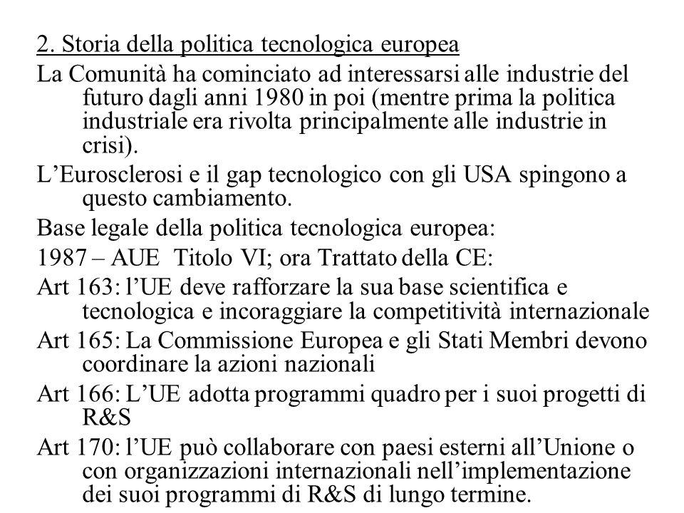 2. Storia della politica tecnologica europea La Comunità ha cominciato ad interessarsi alle industrie del futuro dagli anni 1980 in poi (mentre prima