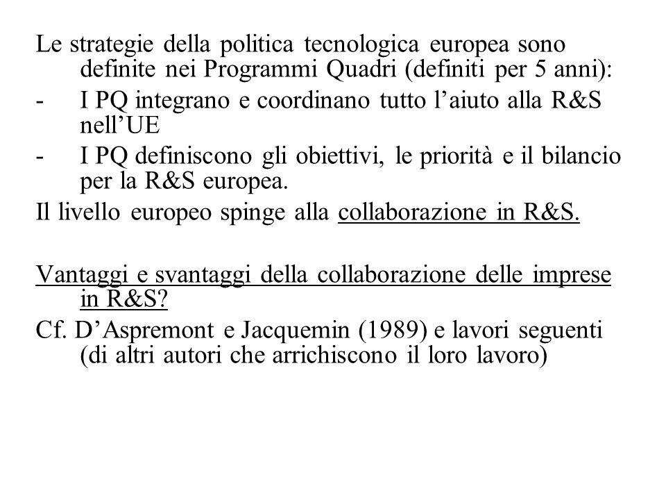 Le strategie della politica tecnologica europea sono definite nei Programmi Quadri (definiti per 5 anni): -I PQ integrano e coordinano tutto laiuto alla R&S nellUE -I PQ definiscono gli obiettivi, le priorità e il bilancio per la R&S europea.