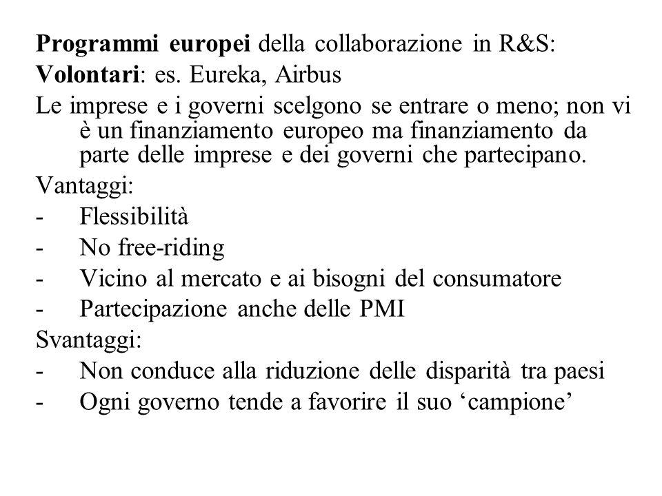 Programmi europei della collaborazione in R&S: Volontari: es.