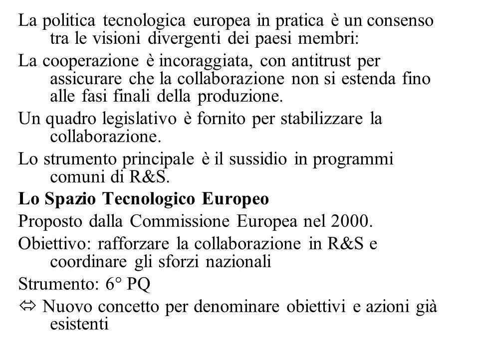 La politica tecnologica europea in pratica è un consenso tra le visioni divergenti dei paesi membri: La cooperazione è incoraggiata, con antitrust per assicurare che la collaborazione non si estenda fino alle fasi finali della produzione.