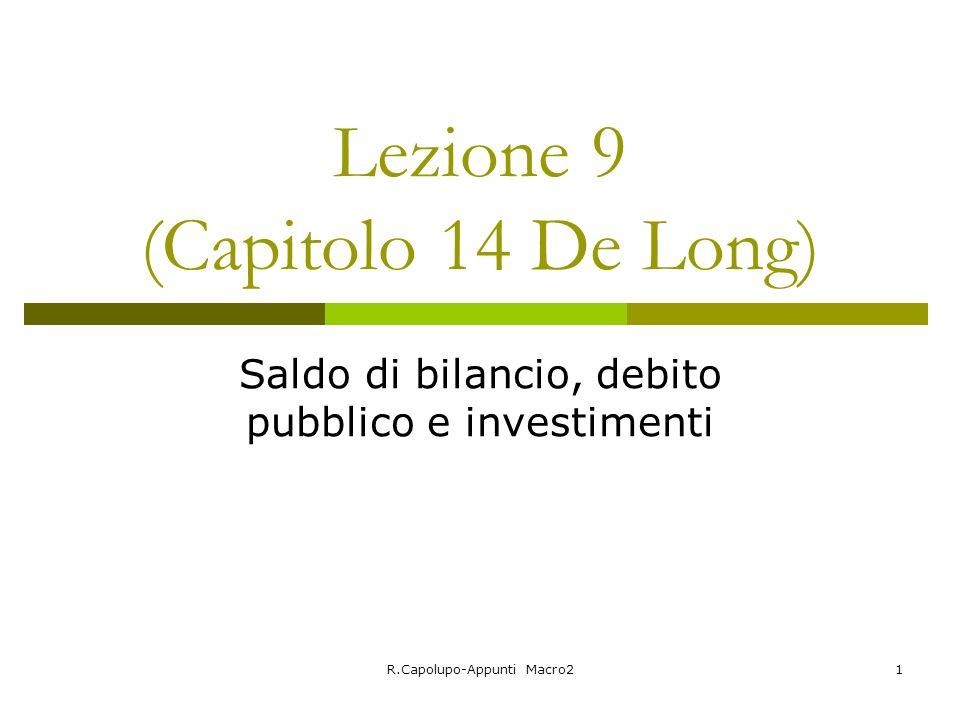 R.Capolupo-Appunti Macro21 Lezione 9 (Capitolo 14 De Long) Saldo di bilancio, debito pubblico e investimenti