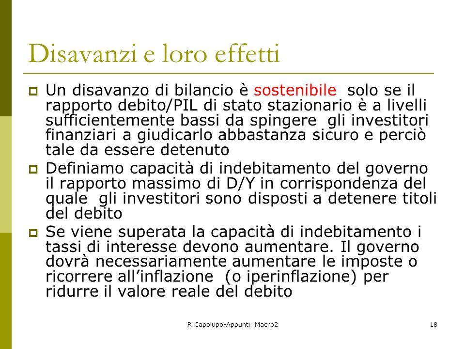 R.Capolupo-Appunti Macro218 Disavanzi e loro effetti Un disavanzo di bilancio è sostenibile solo se il rapporto debito/PIL di stato stazionario è a li