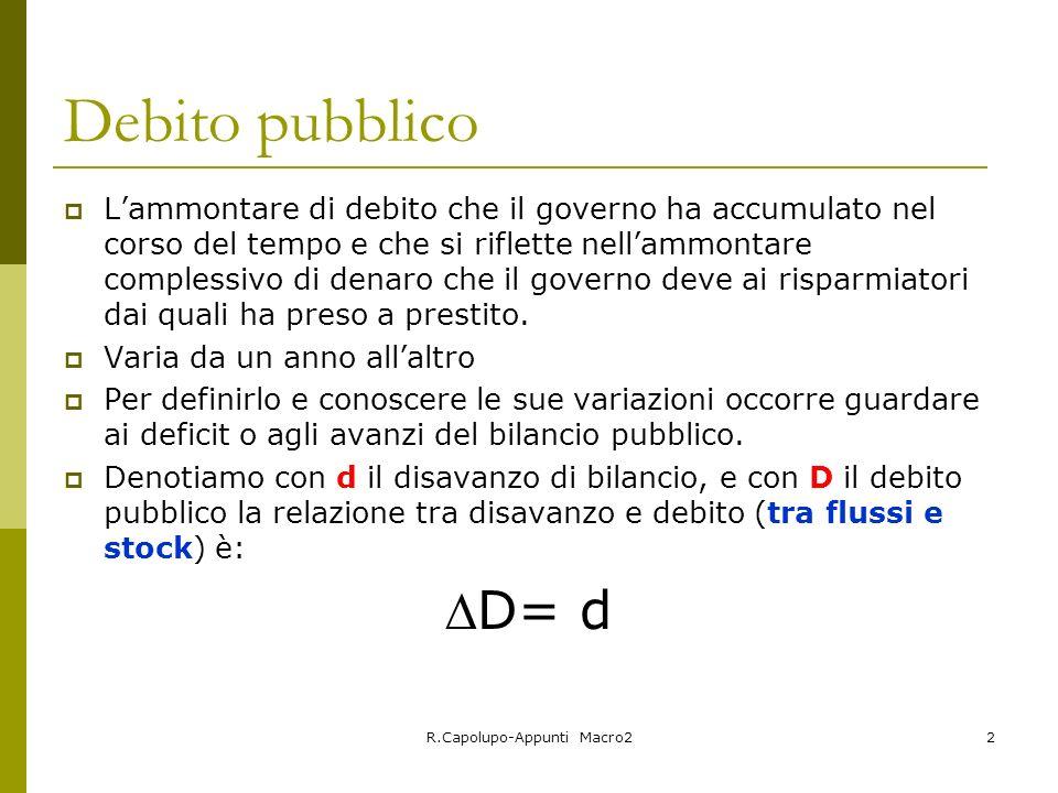 R.Capolupo-Appunti Macro22 Debito pubblico Lammontare di debito che il governo ha accumulato nel corso del tempo e che si riflette nellammontare compl