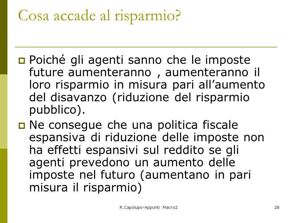 R.Capolupo-Appunti Macro228 Cosa accade al risparmio.