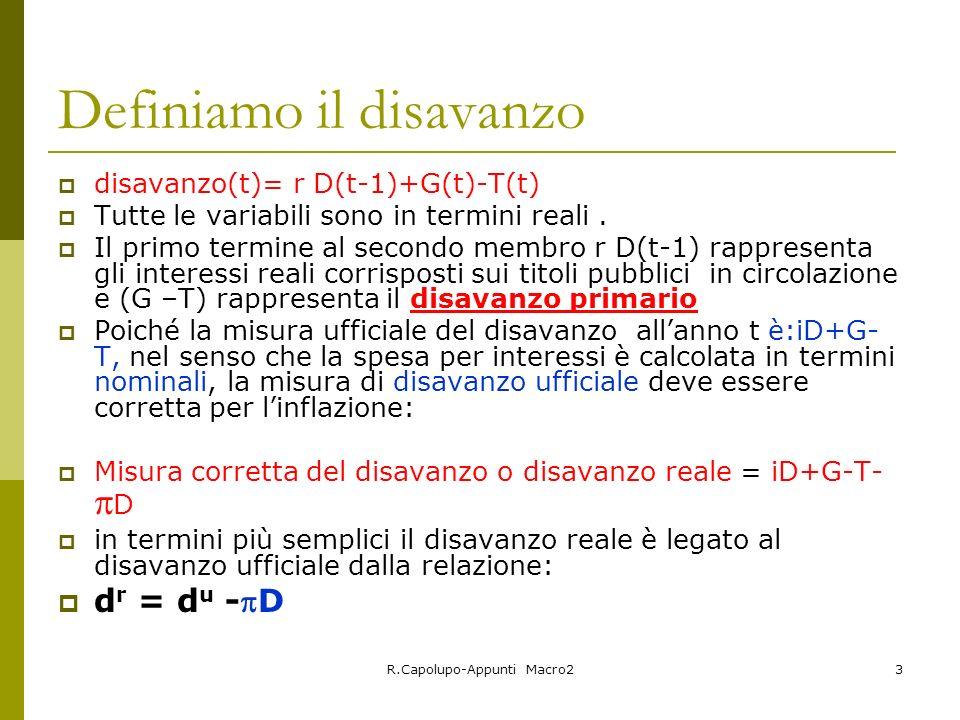 R.Capolupo-Appunti Macro23 Definiamo il disavanzo disavanzo(t)= r D(t-1)+G(t)-T(t) Tutte le variabili sono in termini reali.