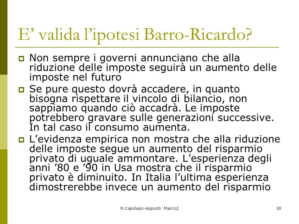 R.Capolupo-Appunti Macro230 E valida lipotesi Barro-Ricardo.
