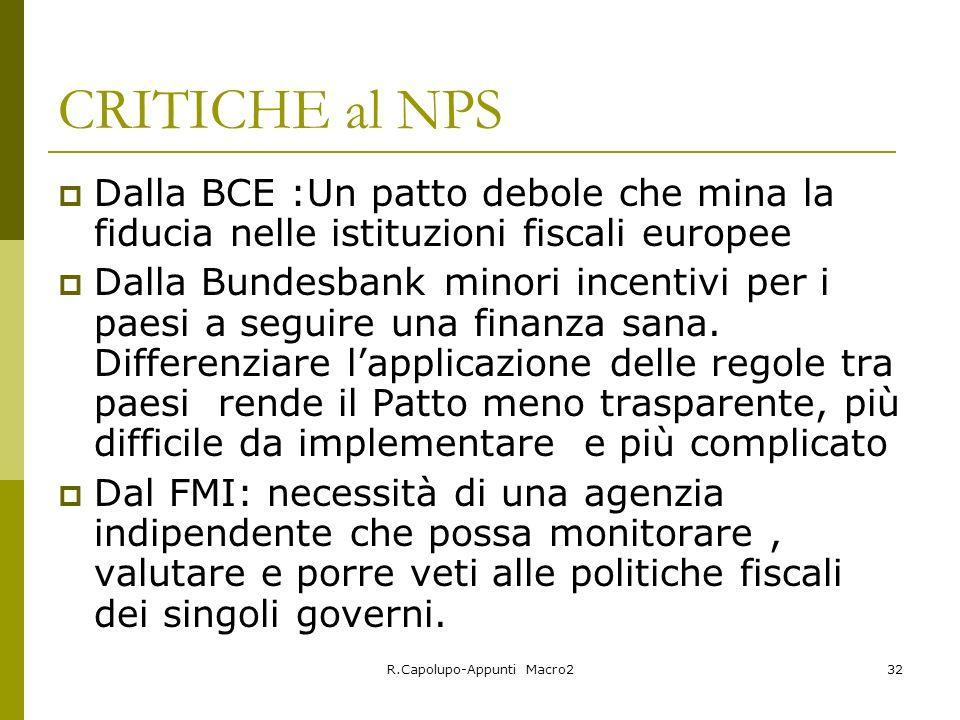 R.Capolupo-Appunti Macro232 CRITICHE al NPS Dalla BCE :Un patto debole che mina la fiducia nelle istituzioni fiscali europee Dalla Bundesbank minori incentivi per i paesi a seguire una finanza sana.