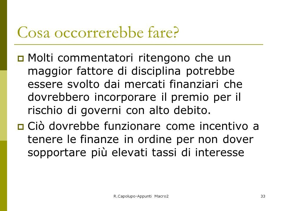 R.Capolupo-Appunti Macro233 Cosa occorrerebbe fare? Molti commentatori ritengono che un maggior fattore di disciplina potrebbe essere svolto dai merca