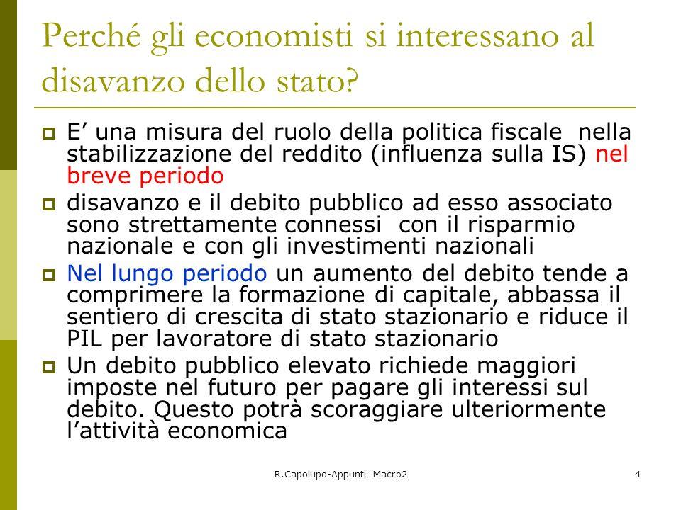 R.Capolupo-Appunti Macro24 Perché gli economisti si interessano al disavanzo dello stato? E una misura del ruolo della politica fiscale nella stabiliz