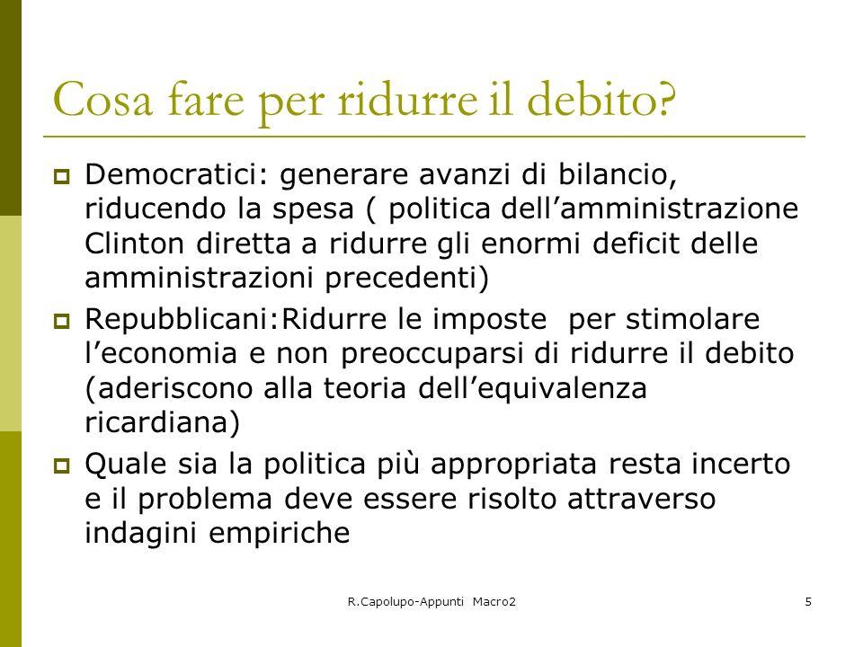 R.Capolupo-Appunti Macro25 Cosa fare per ridurre il debito? Democratici: generare avanzi di bilancio, riducendo la spesa ( politica dellamministrazion
