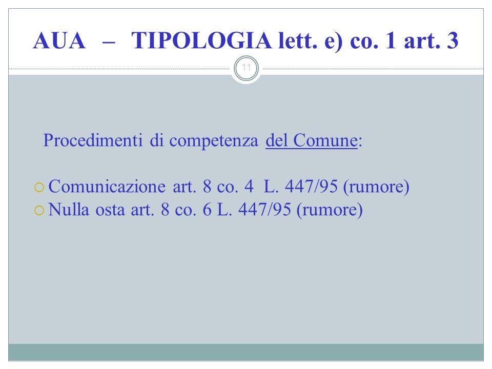 AUA – TIPOLOGIA lett. e) co. 1 art. 3 11 Procedimenti di competenza del Comune: Comunicazione art. 8 co. 4 L. 447/95 (rumore) Nulla osta art. 8 co. 6