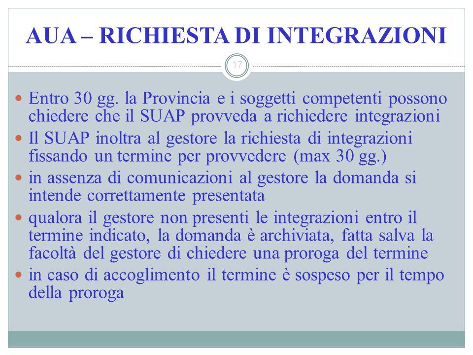 AUA – RICHIESTA DI INTEGRAZIONI 17 Entro 30 gg. la Provincia e i soggetti competenti possono chiedere che il SUAP provveda a richiedere integrazioni I