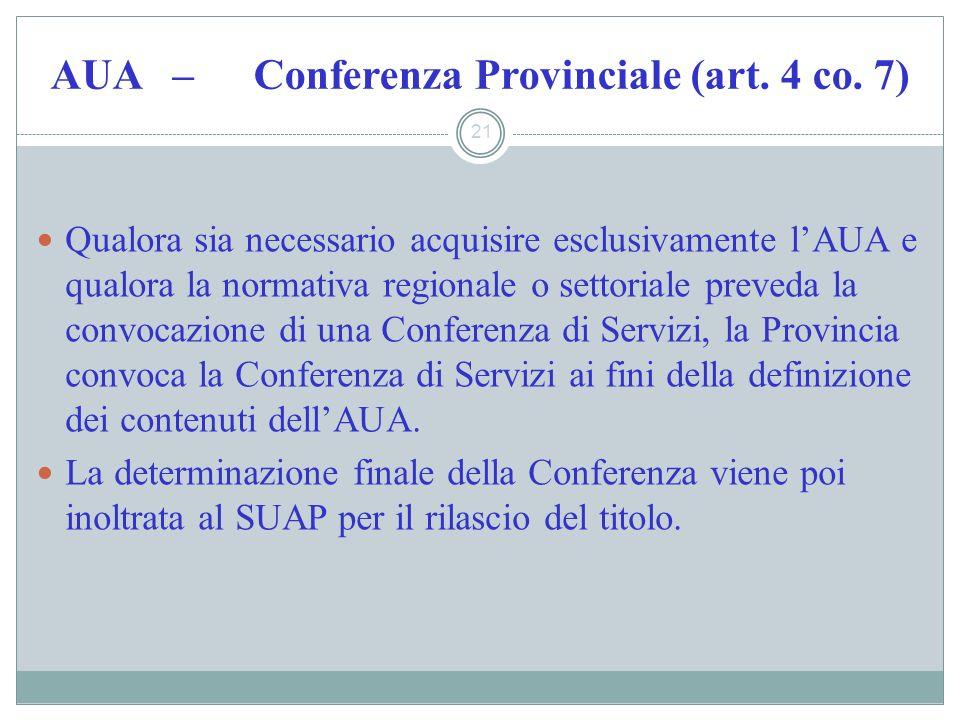 AUA – Conferenza Provinciale (art. 4 co. 7) 21 Qualora sia necessario acquisire esclusivamente lAUA e qualora la normativa regionale o settoriale prev