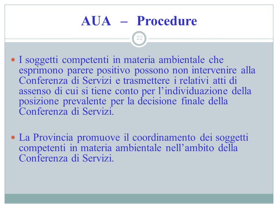 AUA – Procedure 22 I soggetti competenti in materia ambientale che esprimono parere positivo possono non intervenire alla Conferenza di Servizi e tras