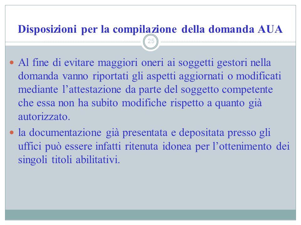 Disposizioni per la compilazione della domanda AUA 25 Al fine di evitare maggiori oneri ai soggetti gestori nella domanda vanno riportati gli aspetti
