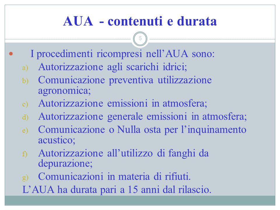 AUA - contenuti e durata 5 I procedimenti ricompresi nellAUA sono: a) Autorizzazione agli scarichi idrici; b) Comunicazione preventiva utilizzazione a