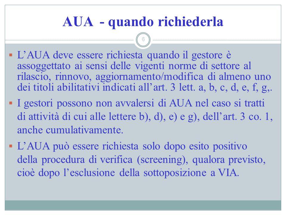 AUA - quando richiederla 6 LAUA deve essere richiesta quando il gestore è assoggettato ai sensi delle vigenti norme di settore al rilascio, rinnovo, a