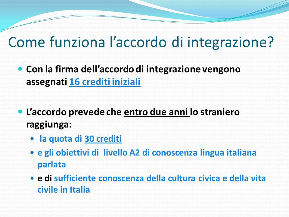 Come funziona laccordo di integrazione? Con la firma dellaccordo di integrazione vengono assegnati 16 crediti iniziali Laccordo prevede che entro due
