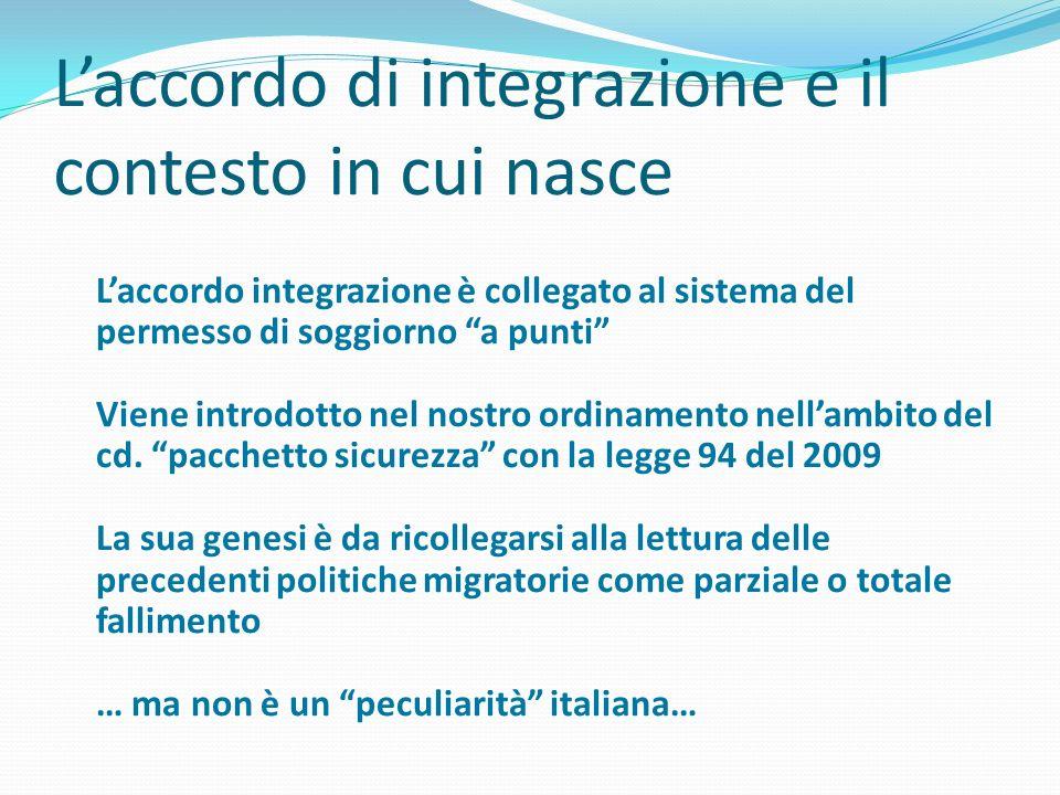 Laccordo di integrazione e il contesto in cui nasce Laccordo integrazione è collegato al sistema del permesso di soggiorno a punti Viene introdotto ne