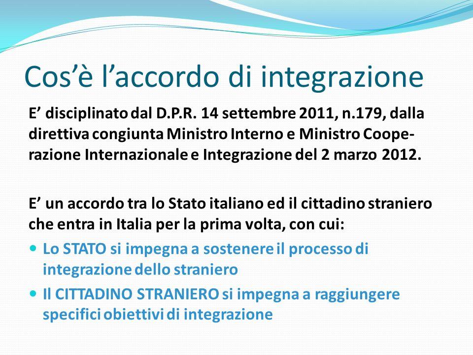 Cosè laccordo di integrazione E disciplinato dal D.P.R. 14 settembre 2011, n.179, dalla direttiva congiunta Ministro Interno e Ministro Coope- razione