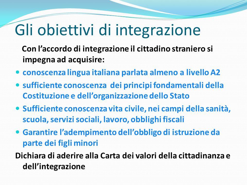 Gli obiettivi di integrazione Con laccordo di integrazione il cittadino straniero si impegna ad acquisire: conoscenza lingua italiana parlata almeno a