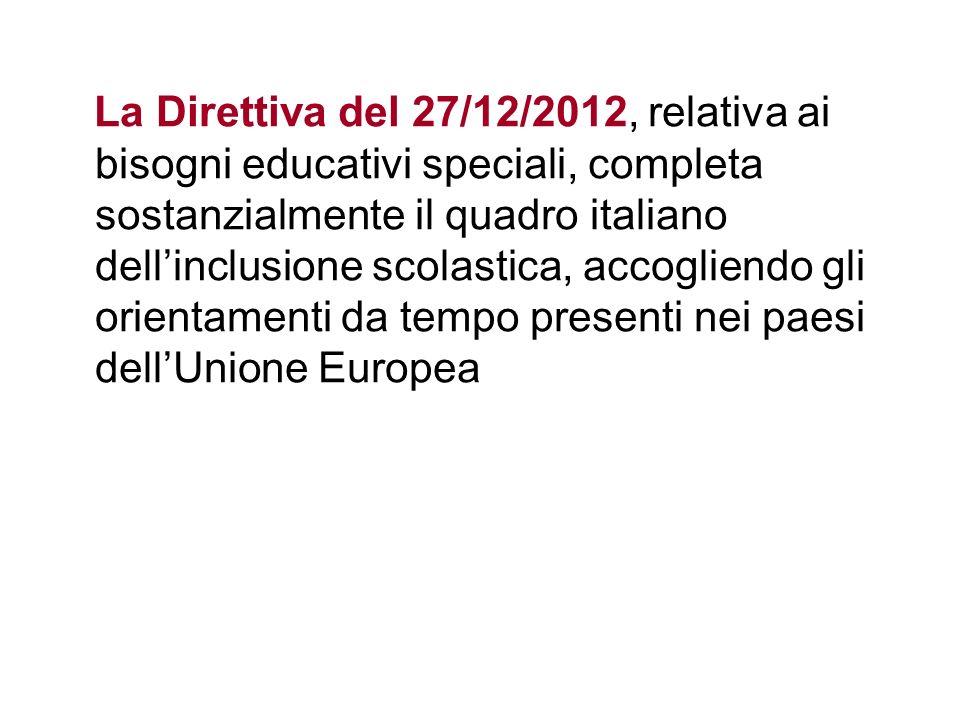 La Direttiva del 27/12/2012, relativa ai bisogni educativi speciali, completa sostanzialmente il quadro italiano dellinclusione scolastica, accogliendo gli orientamenti da tempo presenti nei paesi dellUnione Europea