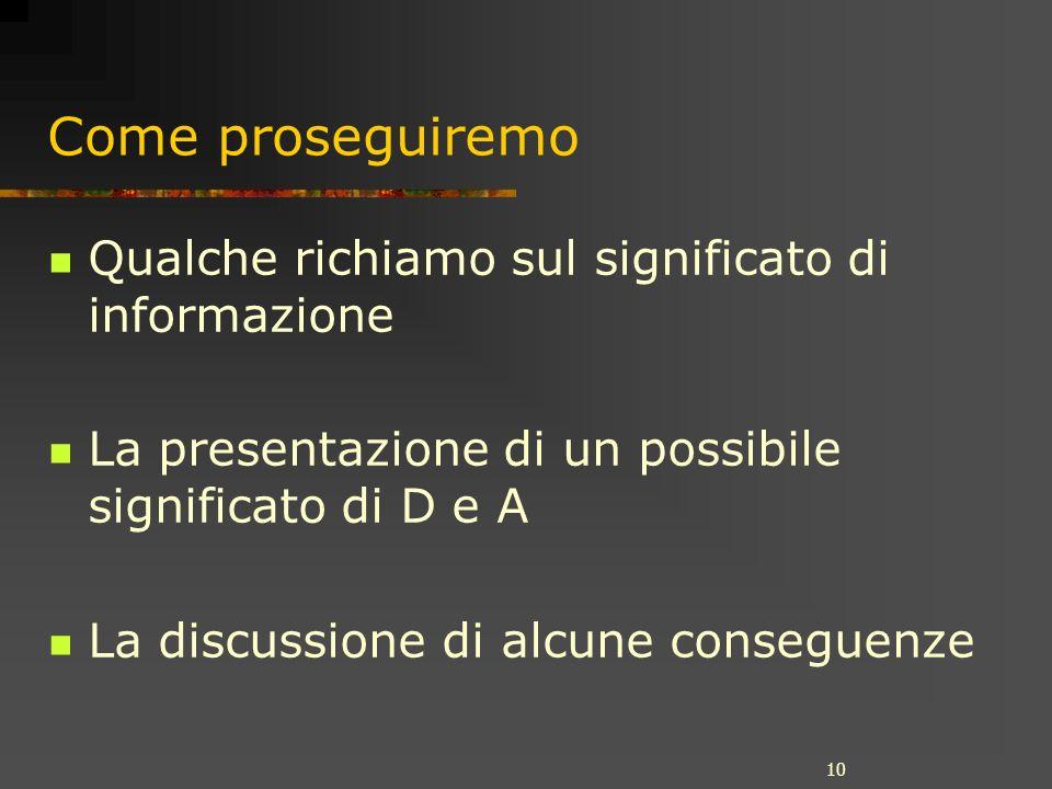 10 Come proseguiremo Qualche richiamo sul significato di informazione La presentazione di un possibile significato di D e A La discussione di alcune conseguenze