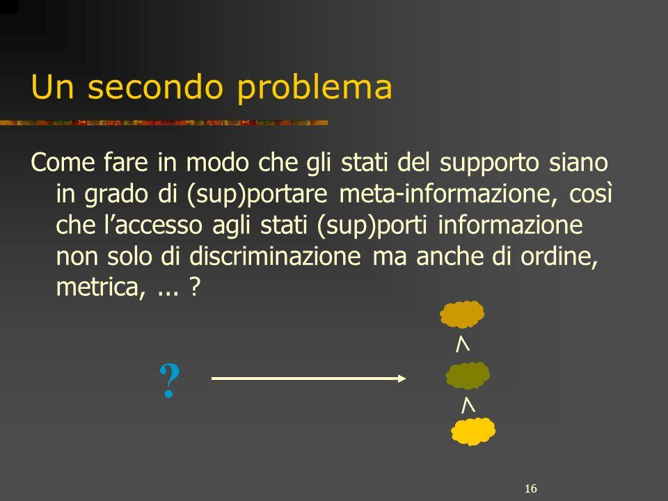 16 Un secondo problema Come fare in modo che gli stati del supporto siano in grado di (sup)portare meta-informazione, così che laccesso agli stati (su