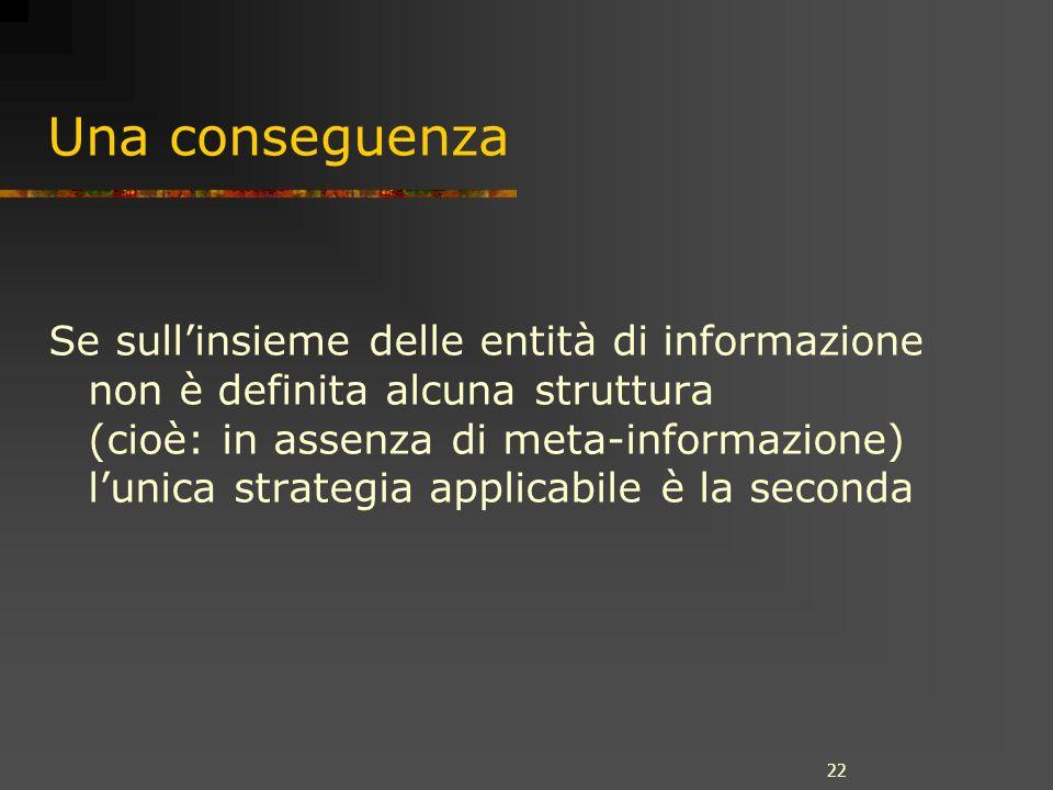 22 Una conseguenza Se sullinsieme delle entità di informazione non è definita alcuna struttura (cioè: in assenza di meta-informazione) lunica strategi