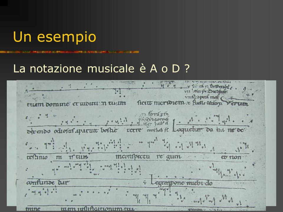 25 Un esempio La notazione musicale è A o D