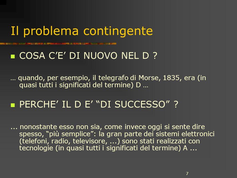 7 Il problema contingente COSA CE DI NUOVO NEL D ? … quando, per esempio, il telegrafo di Morse, 1835, era (in quasi tutti i significati del termine)