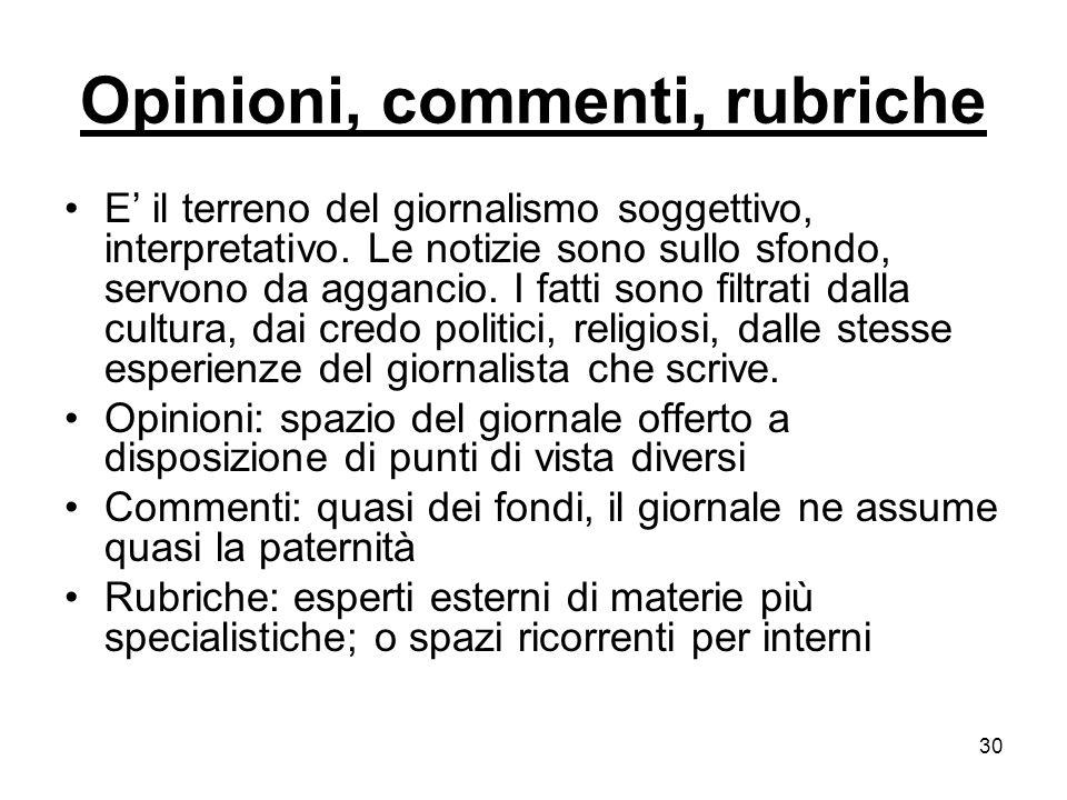 30 Opinioni, commenti, rubriche E il terreno del giornalismo soggettivo, interpretativo.
