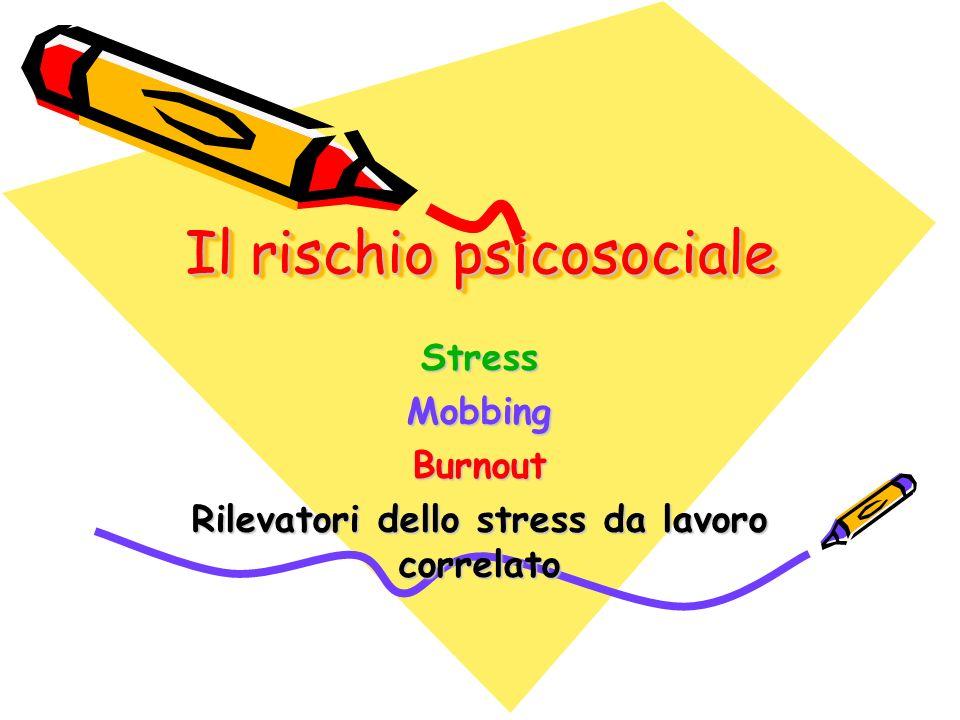 Il rischio psicosociale StressMobbingBurnout Rilevatori dello stress da lavoro correlato