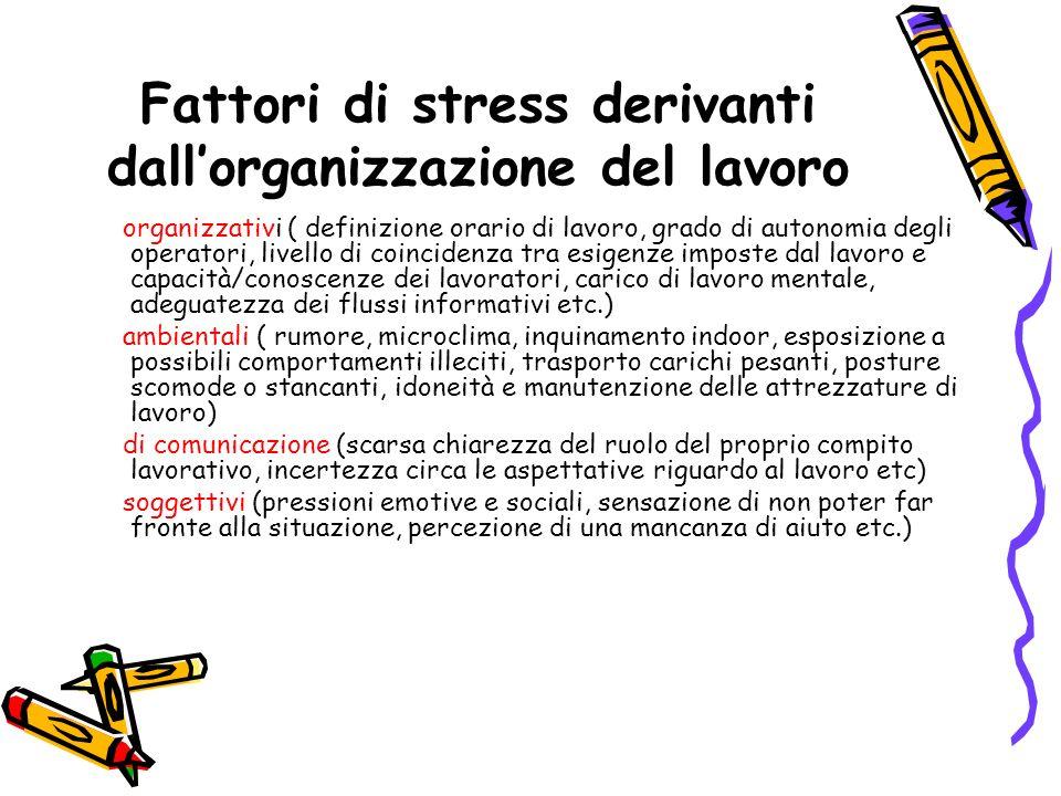 Fattori di stress derivanti dallorganizzazione del lavoro organizzativi ( definizione orario di lavoro, grado di autonomia degli operatori, livello di