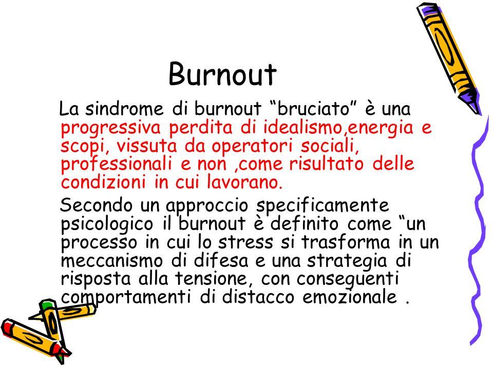 Burnout La sindrome di burnout bruciato è una progressiva perdita di idealismo,energia e scopi, vissuta da operatori sociali, professionali e non,come