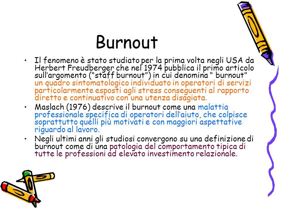 Burnout Il fenomeno è stato studiato per la prima volta negli USA da Herbert Freudberger che nel 1974 pubblica il primo articolo sullargomento (staff
