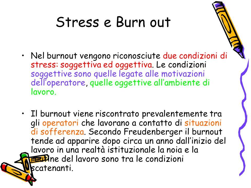 Stress e Burn out Nel burnout vengono riconosciute due condizioni di stress: soggettiva ed oggettiva. Le condizioni soggettive sono quelle legate alle