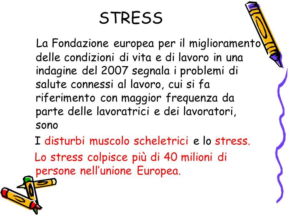 STRESS La Fondazione europea per il miglioramento delle condizioni di vita e di lavoro in una indagine del 2007 segnala i problemi di salute connessi