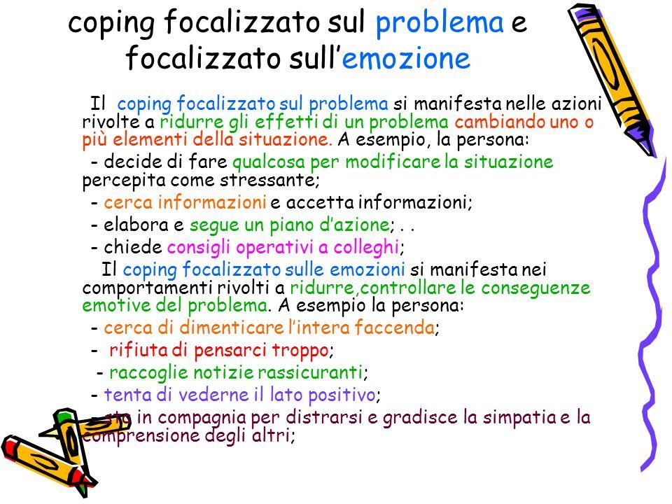 coping focalizzato sul problema e focalizzato sullemozione Il coping focalizzato sul problema si manifesta nelle azioni rivolte a ridurre gli effetti