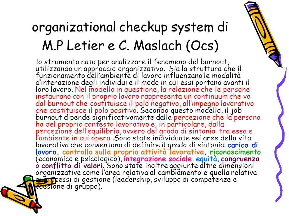 organizational checkup system di M.P Letier e C. Maslach (Ocs) lo strumento nato per analizzare il fenomeno del burnout, utilizzando un approccio orga