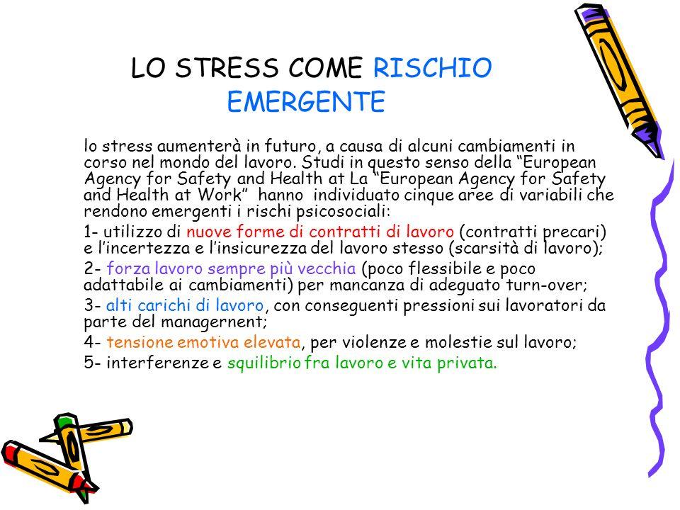 LO STRESS COME RISCHIO EMERGENTE lo stress aumenterà in futuro, a causa di alcuni cambiamenti in corso nel mondo del lavoro. Studi in questo senso del