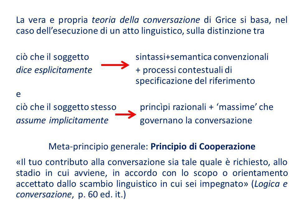 La vera e propria teoria della conversazione di Grice si basa, nel caso dellesecuzione di un atto linguistico, sulla distinzione tra ciò che il sogget