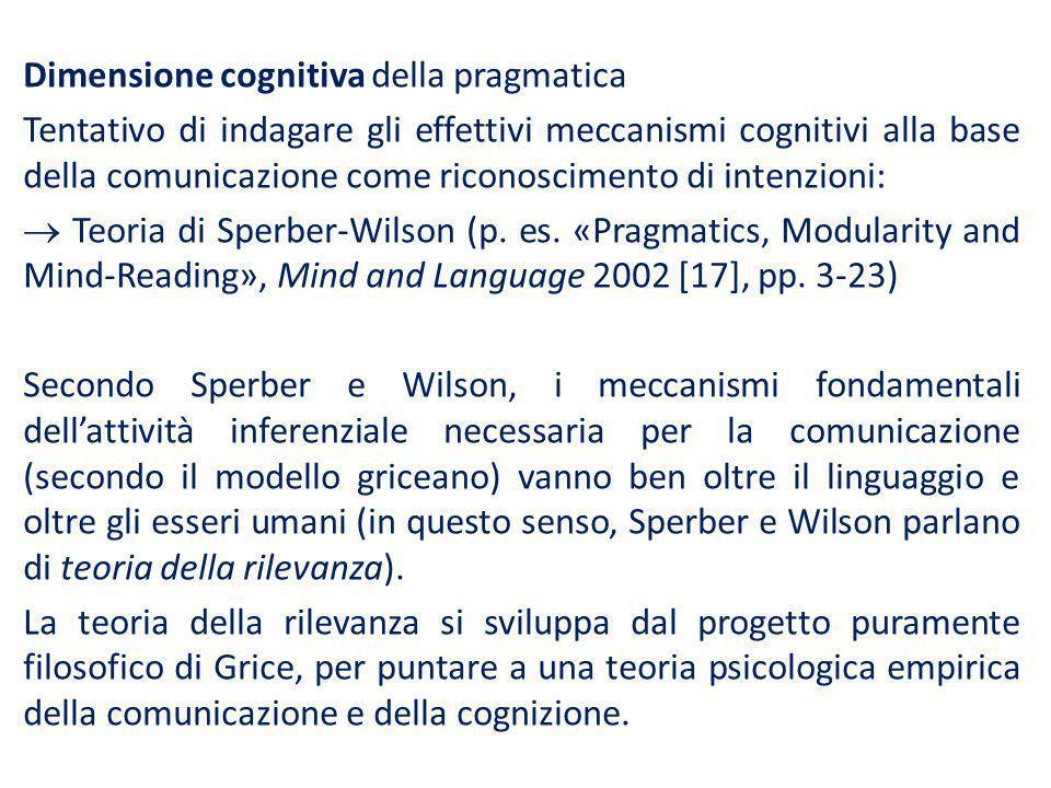Dimensione cognitiva della pragmatica Tentativo di indagare gli effettivi meccanismi cognitivi alla base della comunicazione come riconoscimento di in